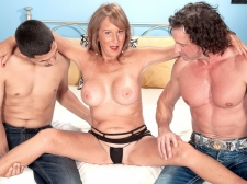 Trisha receives ass-fucked by two lads and swallows